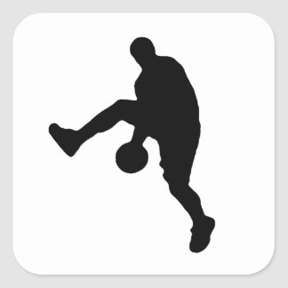 Pop Art Basketball Player Silhouette Square Sticker