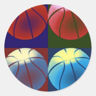 Pop Art Basketball Round Sticker