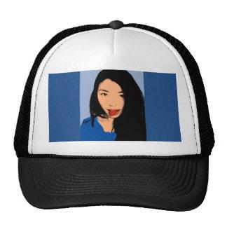 Pop Art, Beautiful funny girl Blue Trucker Hat