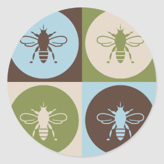Pop Art Bee Classic Round Sticker