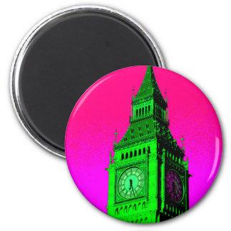 Pop Art Big Ben London Travel Pink Green 2 Inch Round Magnet
