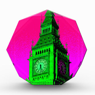 Pop Art Big Ben London Travel Pink Green Award