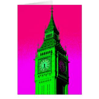 Pop Art Big Ben London Travel Pink Green Card