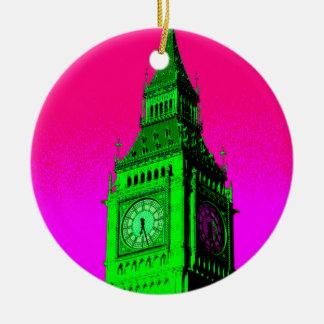 Pop Art Big Ben London Travel Pink Green Ceramic Ornament