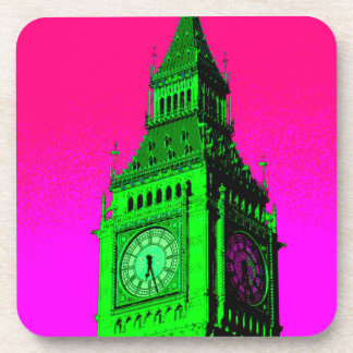 Pop Art Big Ben London Travel Pink Green Coaster