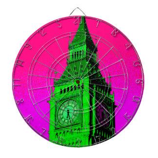 Pop Art Big Ben London Travel Pink Green Dartboard