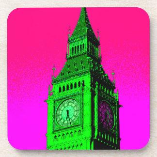 Pop Art Big Ben London Travel Pink Green Drink Coaster