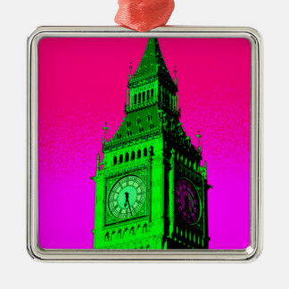 Pop Art Big Ben London Travel Pink Green Metal Ornament