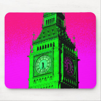 Pop Art Big Ben London Travel Pink Green Mouse Pad