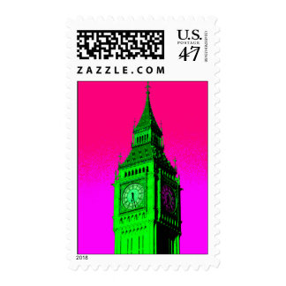 Pop Art Big Ben London Travel Pink Green Postage