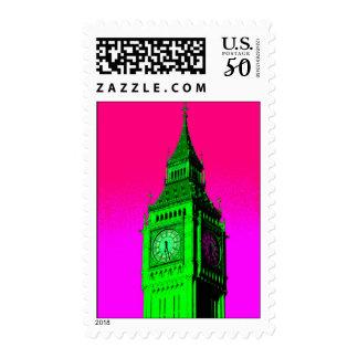 Pop Art Big Ben London Travel Pink Green Postage