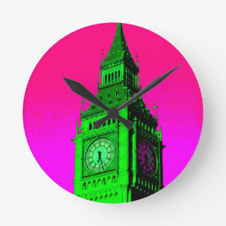 Pop Art Big Ben London Travel Pink Green Round Clock