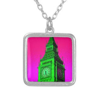 Pop Art Big Ben London Travel Pink Green Silver Plated Necklace