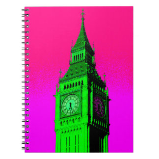 Pop Art Big Ben London Travel Pink Green Spiral Notebook