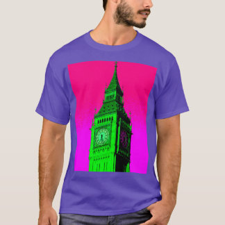 Pop Art Big Ben London Travel Pink Green T-Shirt