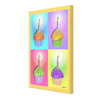 Pop Art BIRTHDAY CUPCAKES & Candles Gallery Wrappe Canvas Print