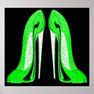 Pop-art Black and green stiletto shoes artPrint Poster