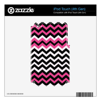 Pop Art Black and Pink Zigzags iPod Touch 4G Decals