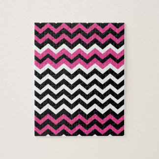 Pop Art Black and Pink Zigzags Jigsaw Puzzle