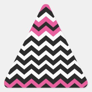 Pop Art Black and Pink Zigzags Triangle Sticker