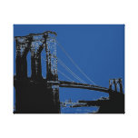 Pop Art Black & Blue Brooklyn Bridge Canvas Print