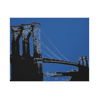 Pop Art Black & Blue Brooklyn Bridge Canvas Print