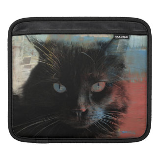 Pop Art Black Cat Red White Blue background iPad Sleeve