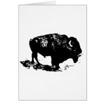 Pop Art Black White Buffalo Bison Silhouette Card