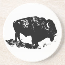 Pop Art Black White Buffalo Bison Silhouette Drink Coaster