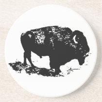 Pop Art Black White Buffalo Bison Silhouette Drink Coaster