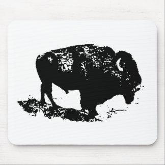 Pop Art Black White Buffalo Bison Silhouette Mouse Pad