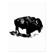 Pop Art Black White Buffalo Bison Silhouette Postcard