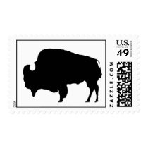 Pop Art Black White Buffalo Bison Silhouette Stamp