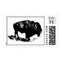 Pop Art Black White Buffalo Bison Silhouette Stamp