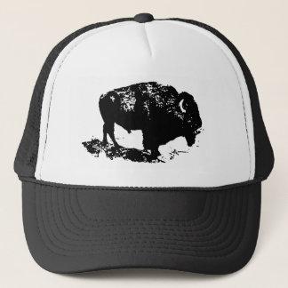Pop Art Black White Buffalo Bison Silhouette Trucker Hat