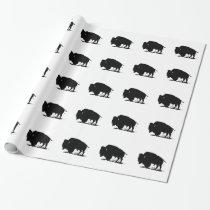 Pop Art Black White Buffalo Bison Silhouette Wrapping Paper