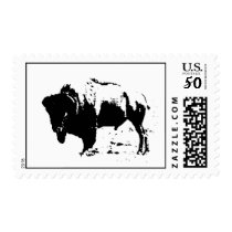 Pop Art Black & White Buffalo Bison Stamp