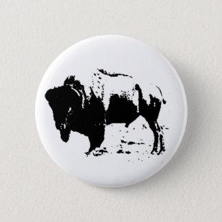 Pop Art Black & White Buffalo Silhouette Button