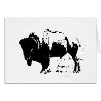 Pop Art Black & White Buffalo Silhouette Card