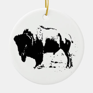 Pop Art Black & White Buffalo Silhouette Ceramic Ornament