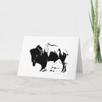 Pop Art Black & White Buffalo Silhouette Holiday Card