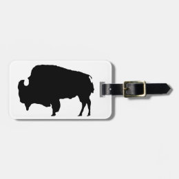 Pop Art Black & White Buffalo Silhouette Luggage Tag