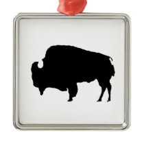 Pop Art Black & White Buffalo Silhouette Metal Ornament