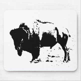 Pop Art Black White Buffalo Silhouette Mousepads