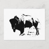Pop Art Black & White Buffalo Silhouette Postcard