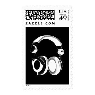 Pop Art Black White Headphone Postage Stamp