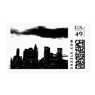 Pop Art Black White New York City Silhouette Postage Stamp