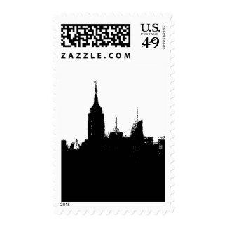 Pop Art Black White New York City Silhouette Stamp