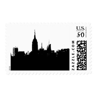 Pop Art Black White New York City Skyline Stamp