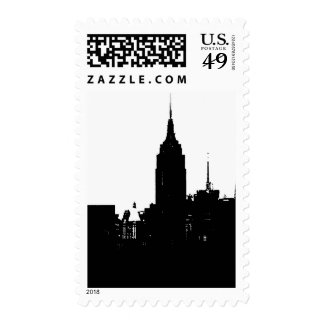 Pop Art Black White New York Silhouette Stamp